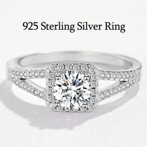 925 Sterling Silver & CZ Engagement Wedding Ring